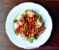 Cauliflower and Chickpea Salad- A Cookbook Collection with Tahini and Pomegrante #honeyandco #nigella #simplynigella