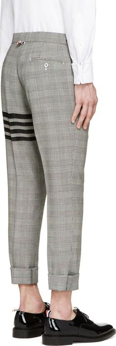Thom Browne Grey Glenplaid Signature Stripe Trousers