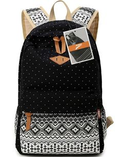 Leaper Cute Polka Dot and Aztec Casual Canvas Backpack School Bag Lightweight Rucksack (M,Black)