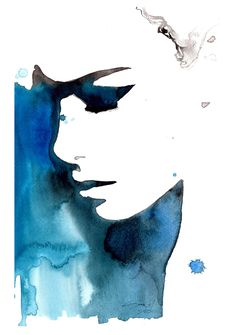 Print from original watercolor fashion illustration by Jessica Durrant titled Black and Blue for You.
