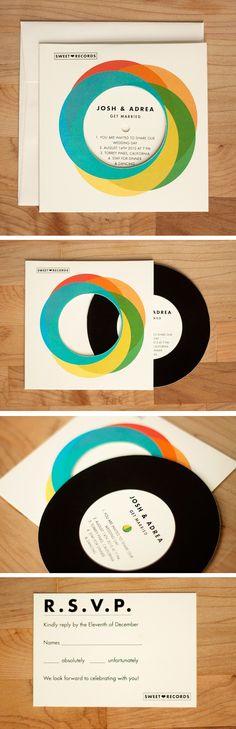 vinyl record wedding invite