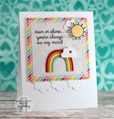 Card by Amy Kolling. Reverse Confetti stamp set and coordinating Confetti Cuts: Weather It Together. Friendship card. Encouragement card.