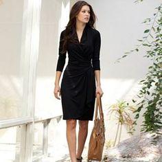 Black Cascade Wrap Dress