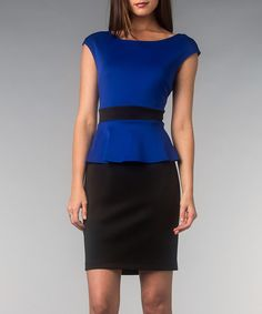 Take a look at this AA Studio Royal Blue Scuba Peplum Dress on zulily today!