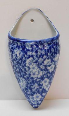 Blue and White Porcelain Wall Pocket Flowers Lattice Designs Vintage | eBay