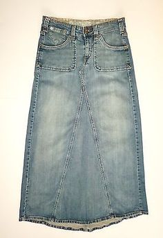 Levis Long Denim Jean Maxi Skirt A-line Size 8 Boho Hippie Modest