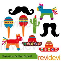 Mexico theme clip art featuring Cinco de mayo celebration. Fiesta! A super fun collection to decorate your learning materials, classroom, and school bulletin. Mustache, pinata, sombrero, are among the graphics. You will get 9 digital images.You might also like this 5ht May setLink-Cinco de mayoCinco de mayo is a celebration held on May 5th.
