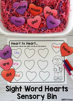 Superstars Which Are Helping Individuals Overseas This Sight Word Hearts Sensory Bin Is A Fun Way For Students To Practice Reading And Writing Sight Words Around Valentine's Day. Valentines Writing Kindergarten, Kindergarten Sensory, Preschool Activities, Reading Activities, Valentine Sensory, Valentines Day Activities, Valentine Theme, Valentine Crafts, Valentine Ideas