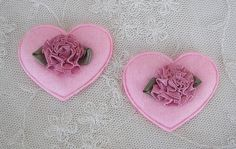 12pc Pink Felt Satin Fabric Rose Flower Heart VALENTINE Applique Baby Bow