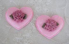12pc Pink Felt Satin Fabric Rose Flower Heart VALENTINE Applique Baby Bow