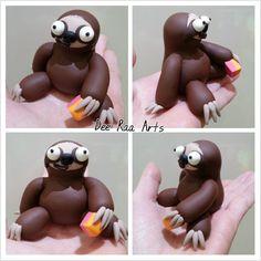 Dee Raa Arts polymer clay sculpey fimo sloth Sloth cute fruit salad