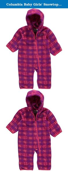 Columbia Baby Girls' Snowtop II Bunting, Punch Pink Plaid, 6-12 Months. A super soft full-body fleece barrier against winter chill, featuring a diagonal zipper across the front of the body for easy on and off and a spectrum of fun colors and prints.