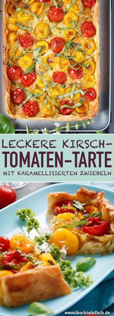 Kirschtomaten Tarte | Das schnelle und einfache Rezept. Die perfekte Feierabendküche, die nach Sommer schmeckt. | #tomatentarte #tomate #kirschtomaten #sommertarte #selbstgemacht #rezept #einfachkochen | emmikochteinfach.de