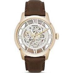 Fossil® Men's Goldtone Townsmen Mechanical Watch With Brown Leather Strap