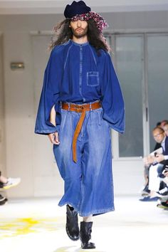 Denim Trend Forcasting   Yohji Yamamoto Menswear Spring Summer 2015 Paris   The runway styles also inspire the trending of the lower line fashion   Source : NOWFASHION
