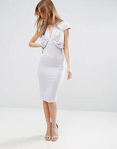 Crepe Fold Front T-Shirt Midi Dress