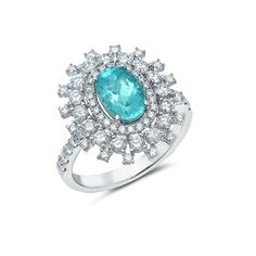 "1.64ct of Paraiba Tourmaline Center Stone 1.2cts of Mixed Cut G-H Color White Diamonds 5.71g of 18K White Gold 3/4"" in Diameter Size 7, Resizable"