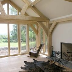 Living Room with Exposed Oak Queen Post Truss in New Build Oak Frame House in Cornwall Timber Frame Homes, Timber House, Architecture Details, Interior Architecture, Oak Framed Extensions, Kim House, Sustainable Building Materials, Oak Framed Buildings, Oak Frame House