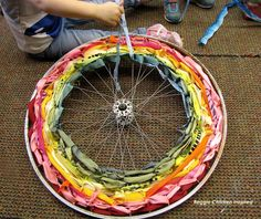 Could turn that old wagon wheel into a great lacing activity!