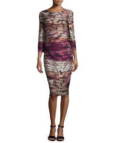3/4-Sleeve Printed Jersey Dress, Women's, Size: 6, Multi - Kay Unger New York