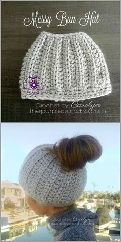 "Messy Bun Hat – Free Crochet Pattern by The Purple Poncho. The Messy Bun Hat is a cute hat that has a whole in the top to pull your hair through to make a ""messy bun"" or a ponytail. Made with chunky weight yarn, this works up super quick! Bonnet Crochet, Crochet Beanie, Crochet Baby, Knitted Hats, Knit Crochet, Double Crochet, Crochet Headbands, Pony Tail Crochet Hat, Crochet Bun Hats"