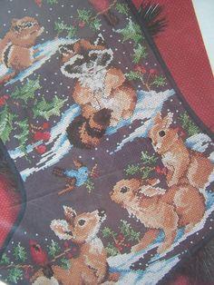 unfinished needlepoint animal stocking | Christmas Stocking Cross Stitch Country Animals