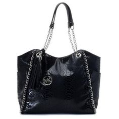 Fashion Michael Kors Chelsea Two-Tone Large Black Totes Online!