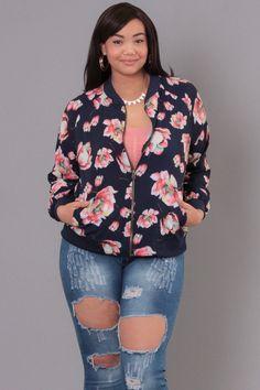 Plus Size Floral Print Silk Bomber Jacket - Navy