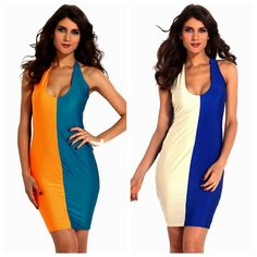 Two-Tone Racer Back Sleeveless Color Block Plunging V-Neck Bodycon Party Dress M #Unbranded #Bodycon #NightClubCocktailWorkFestive