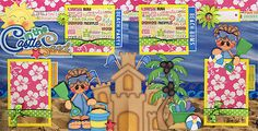 SAND-CASTLES-beach-vacation-2-premade-scrapbook-pages-Paper-Piecing-CHERRY