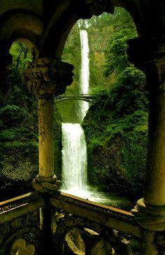 double waterfall; oregon.