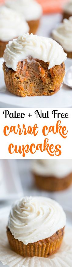 "These dreamy carrot cake cupcakes are made with coconut and tapioca flour and sweetened with maple syrup, making them both paleo and nut free.   They're topped with a sweet creamy paleo vanilla ""buttercream"" that tastes just like real thing!"