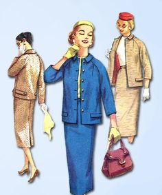 1950s Vintage Simplicity Sewing Pattern 1798 Misses Two Piece Suit Size 13 33B