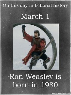 Name: Ron Weasley - Birthdate: March 1, 1980 - Sun Sign: Pisces, the Fish - Animal Sign: Metal Monkey