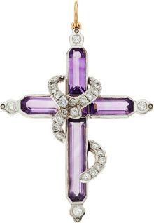 Estate Jewelry:Pendants and Lockets, Amethyst, Diamond, Silver-Topped Gold Pendant. ...