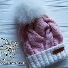 Pink Marshmallow Cable Knitted Hat with White Fur Pom Pom - Photo 4