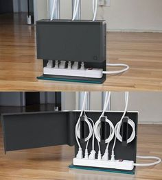 54 home-organization-space-saving-organizing-ideas. like this cable organizer, yarn storage and makeup stored in a hanging jewelry organizer. Organisation Hacks, Cord Organization, Bathroom Organization, Bathroom Storage, Small Bathroom, Ideas Para Organizar, Cable Organizer, Ideias Diy, Ideas Geniales