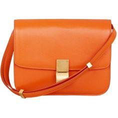 Celine orange Classic box bag ❤ liked on Polyvore