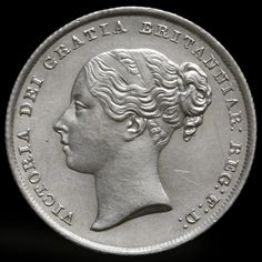 1845 Queen Victoria Young Head Silver Shilling – Rare – UNC