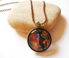 Crow Totem Flower Garden Round Glass Pendant in Bronze Tray Necklace | ConsciousArtStudios - Jewelry on ArtFire