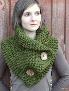 chunky button cowl shawl neck warmer  cilantro  the by EStarKnits, $65.00