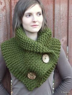 chunky button cowl shawl neck warmer  cilantro  the door EStarKnits, $70,00