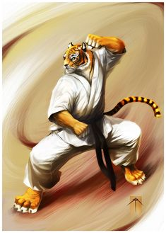 tiger karate black belt drawing