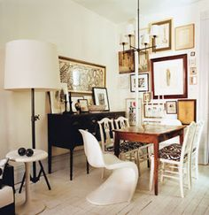 Brooklyn interior Domino Magazine. Verner Panton chair.