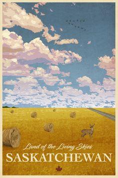Saskatchewan Travel Poster by littlestboho on Etsy https://www.etsy.com/ca/listing/585873746/saskatchewan-travel-poster