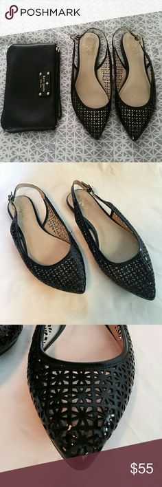 Vince Camuto slingback flats Gorgeous laser cut pattent leather slingback flats. Soft leather interior. EUC, worn once. Very comfortable with adjustable slingback strap, delicate pointed toes. Perfect neutral black feminine shoe to dress up any outfit! Vince Camuto Shoes Flats & Loafers