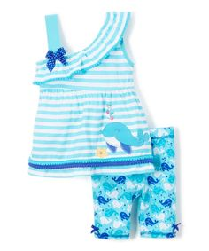 Blue Whale Stripe Knit Tunic & Shorts - Infant Toddler & Girls