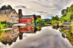 Life on the Water by Joe Martin - Great old time view of this river town in Exeter New Hampshire.  Click on the image to enlarge.