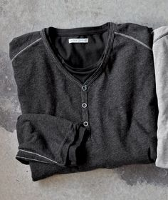 No need to layer, the Double Down Henley from Carbon2Cobalt has two layers for chilly days