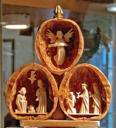 A German-style Nativity shows the Holy Family walnut shells
